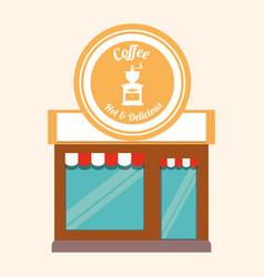 Coffee shop hot and delicious facade vector