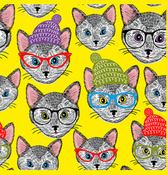 Colorful seamless pattern with cats in hats and vector