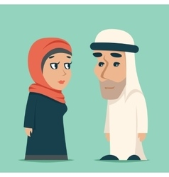 Cute arab male female family cartoon design vector