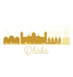 Dhaka city skyline golden silhouette vector