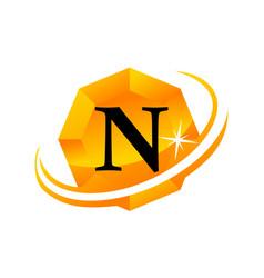 diamond swoosh initial n vector image vector image