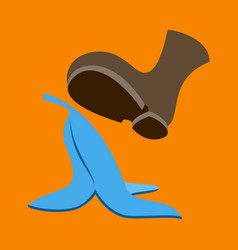 Flat icon on theme humor banana peel vector