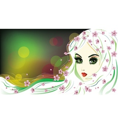 Floral girl with white hair4 vector