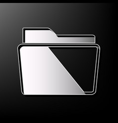 Folder sign gray 3d printed vector