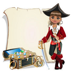 girl pirate blank frame vector image vector image
