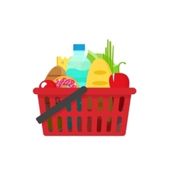 Grocery shopping basket full vector image