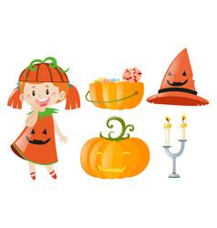 Halloween set with girl and jack-o-lantern vector
