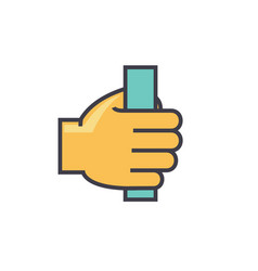 hand holding anything concept line icon vector image vector image