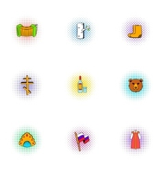 Holiday in russia icons set pop-art style vector