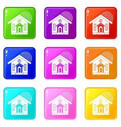House icons 9 set vector