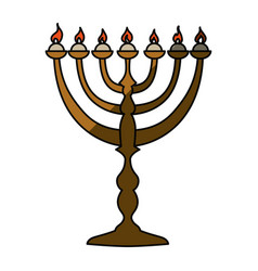 Jewish chandelier menorah vector