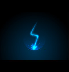 Lightning bolt blue neon cartoon thunder vector