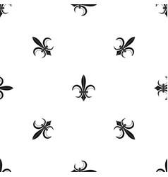 lily heraldic emblem pattern seamless black vector image