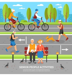 Old People Activities Background vector image