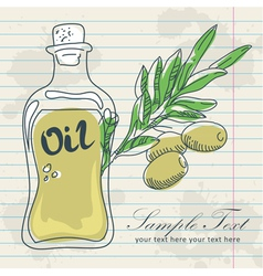Olive oil in a bottle and a branch of olives vector