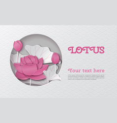 oriental horizontal banner with cut lotus flower vector image