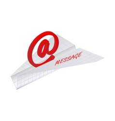 paper plane with email symbol vector image vector image