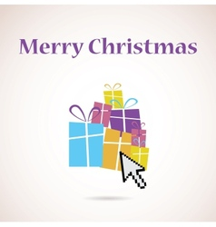 pile of presents and christmas tree vector image vector image
