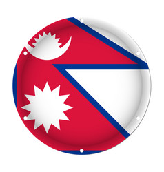 Round metallic flag of nepal with screw holes vector