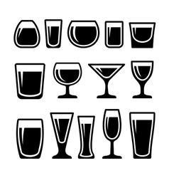 Set of drink glasses icons vector image vector image