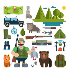 Set of icons for hunting vector