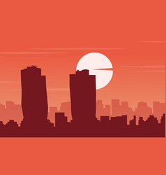 silhouette of singapore building city scenery vector image