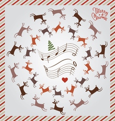 silver Christmas card with flying deer vector image