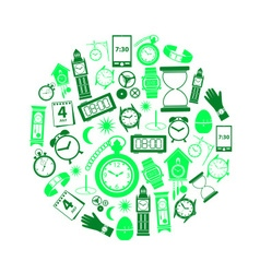 Time theme modern simple green icons in circle vector