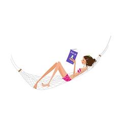 Woman in hammock vector