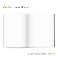 Blank of open book with cover on white background vector