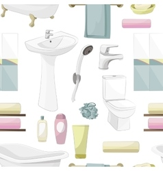 Bathroom elements pattern vector image