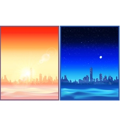 Desert night and evening vector
