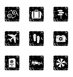 Rest on sea icons set grunge style vector