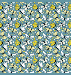 Butterflies seamless pattern in old-fashionated vector
