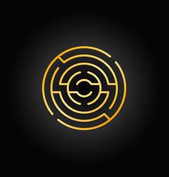 gold circular maze icon vector image