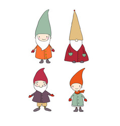 set of cute cartoon gnomes funny elves isolated vector image