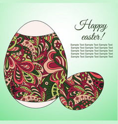 Doodle zentangl drawing holiday card happy easter vector