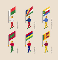 Set of isometric 3d people with flags vector