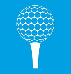 Golf ball on a tee icon white vector