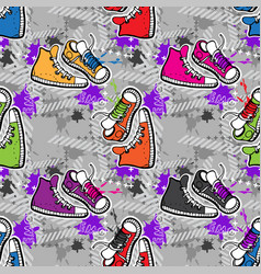 hippie seamless pattern vector image