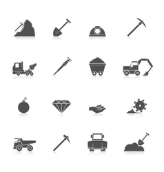 Mining icons set vector
