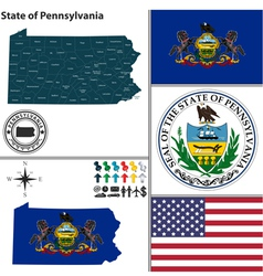Map of pennsylvania with seal vector
