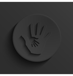Modern hands hold black circle icon vector