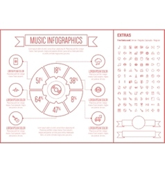 Music line design infographic template vector