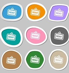 Rent icon symbols multicolored paper stickers vector