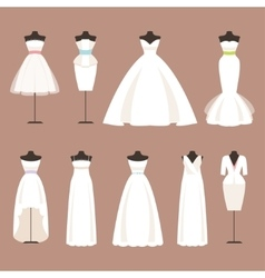 Styles of wedding dresses vector