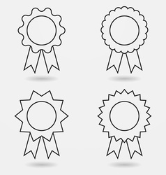 Icon set of award badges or medals with ribbons vector