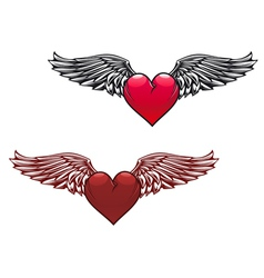 Retro heart with wings vector
