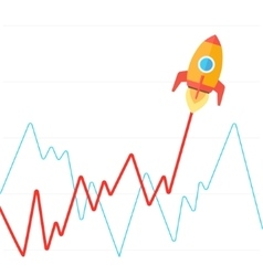 Income graph go up like rocket flat vector