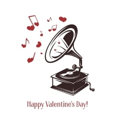 Valentine day card Vintage gramophone with vector image